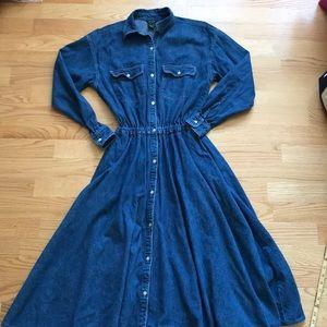 Vintage J Crew SzS LS Jean Dress Full Skirt Button